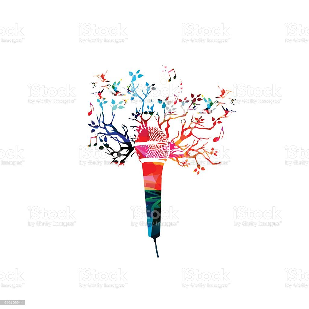 Creative music style template vector illustration, colorful microphone vector art illustration