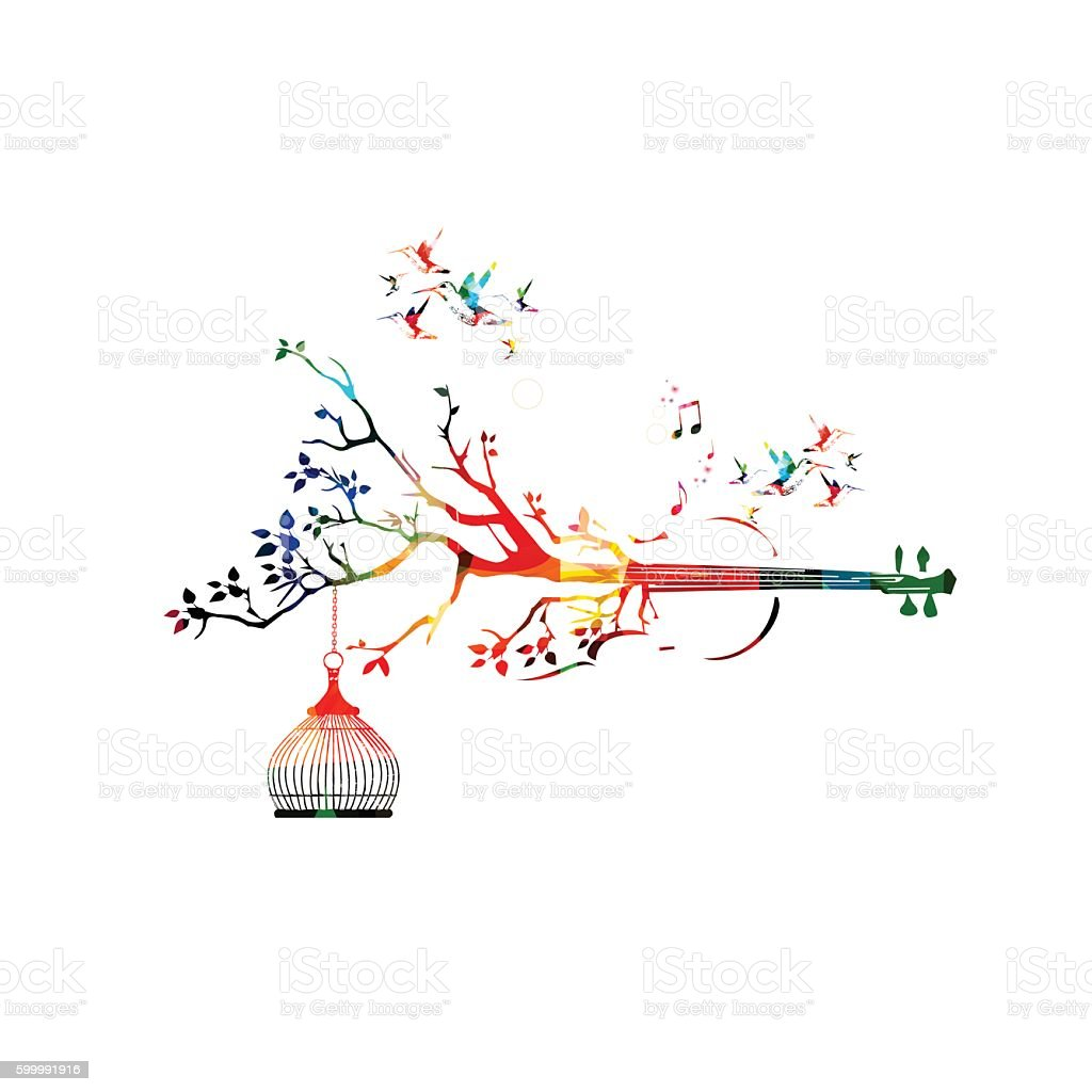 Creative music style template vector illustration, colorful violoncello vector art illustration