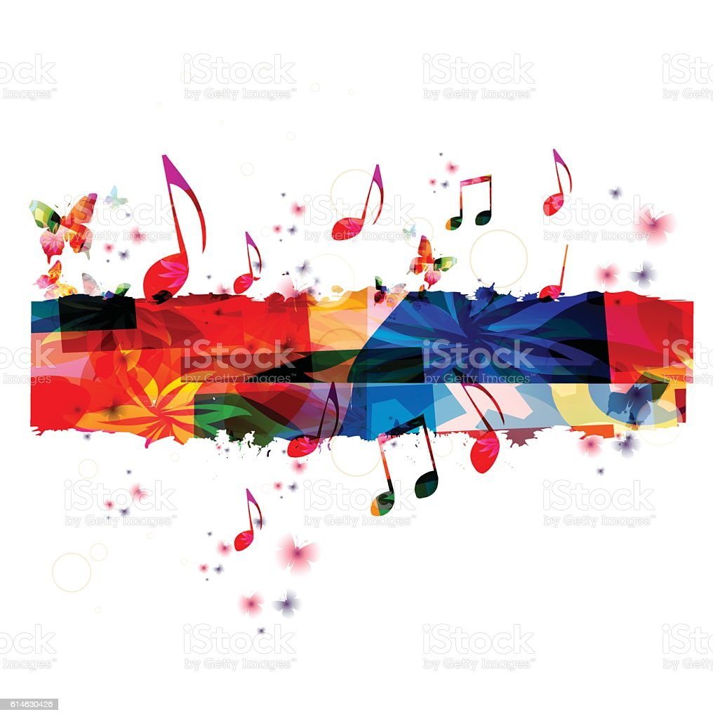 Creative music template vector illustration, colorful music notes vector art illustration