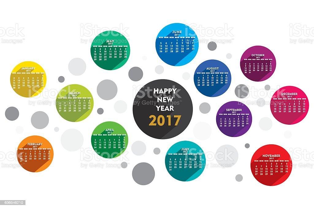 creative new year 2017 calendar vector art illustration