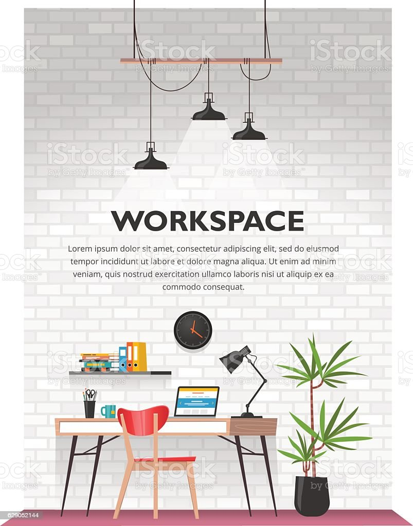 Creative office interior in loft space. vector art illustration