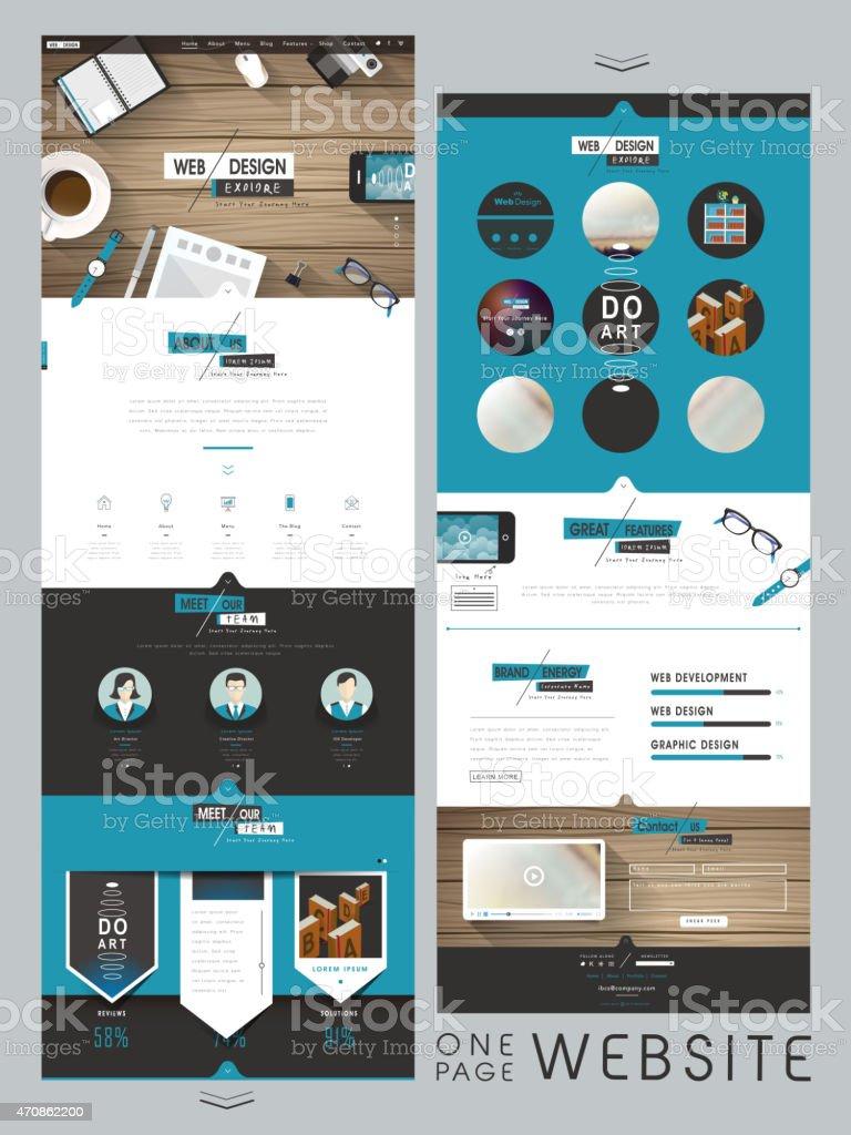 creative one page website design template vector art illustration