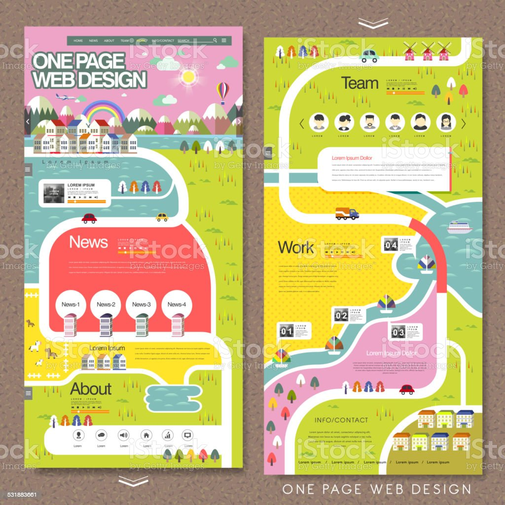 creative one page website template vector art illustration