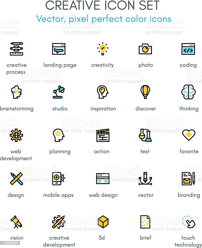 Creative package line icon set. vector art illustration