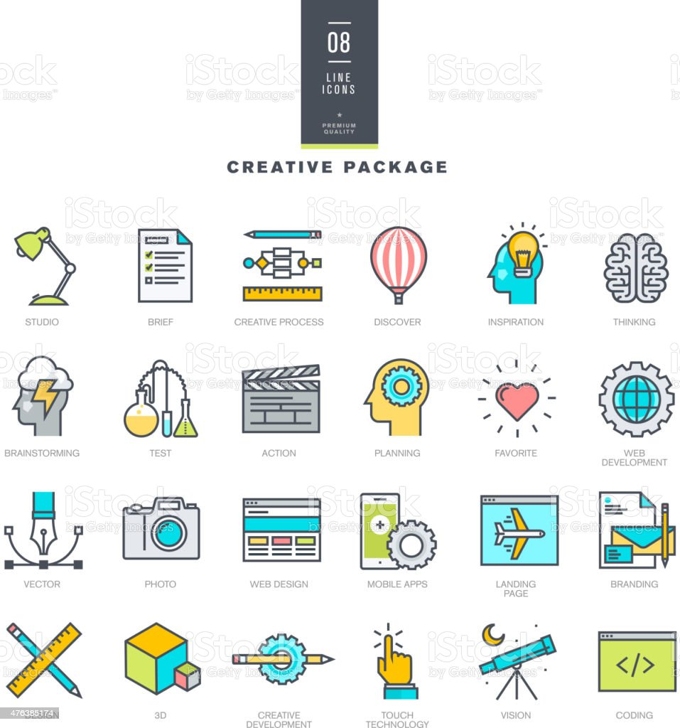 Creative package of line modern color icons vector art illustration