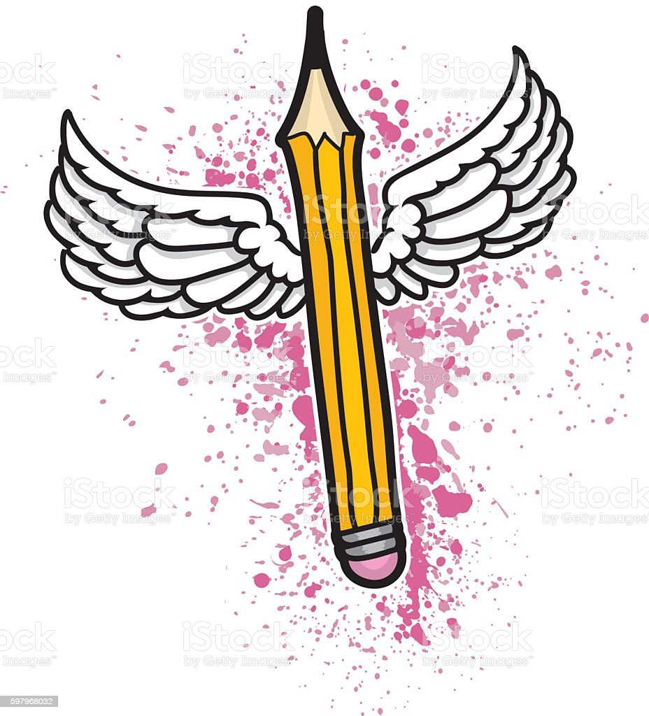Creative Pencil With Wings Illustration vector art illustration