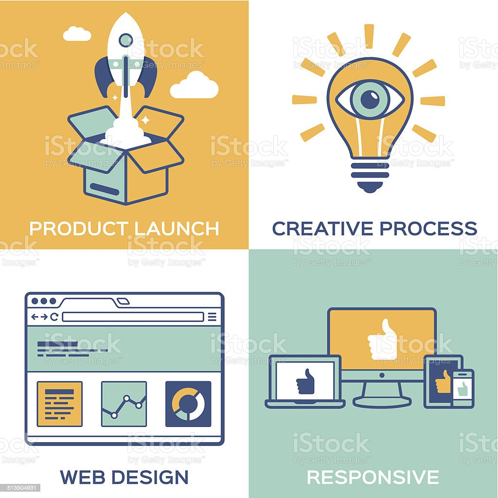 Creative Process and Products Concepts vector art illustration