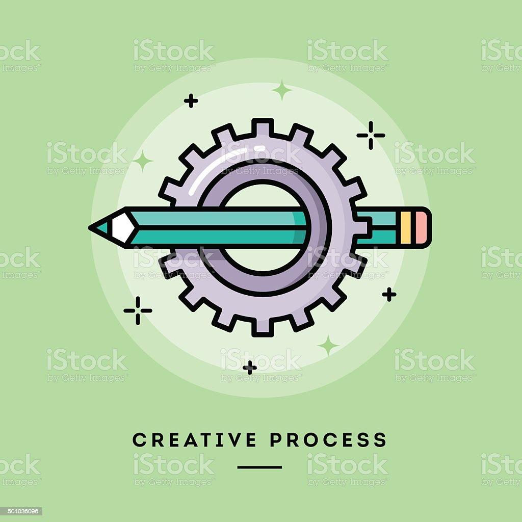 Creative process, flat design thin line banner vector art illustration