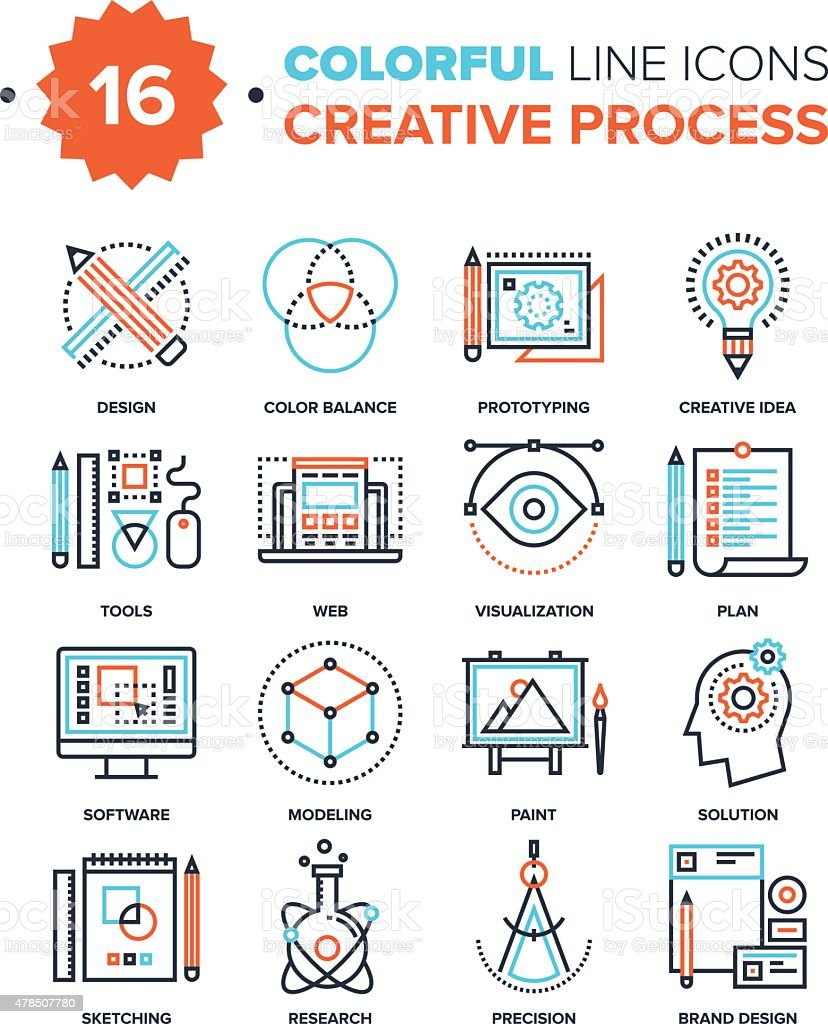 Creative Process vector art illustration