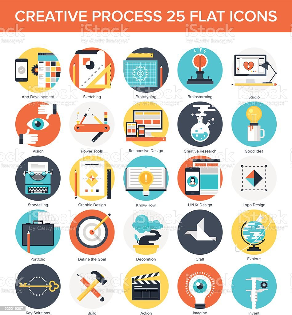 Creative Process vector art illustration