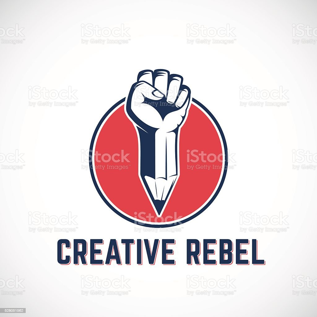 Creative Rebel Abstract Vector Sign, Symbol, Icon or Logo Template vector art illustration