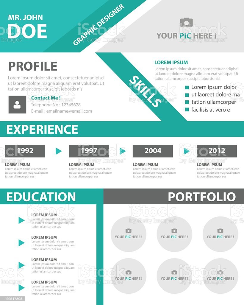 creative resume business profile cv vitae template layout design
