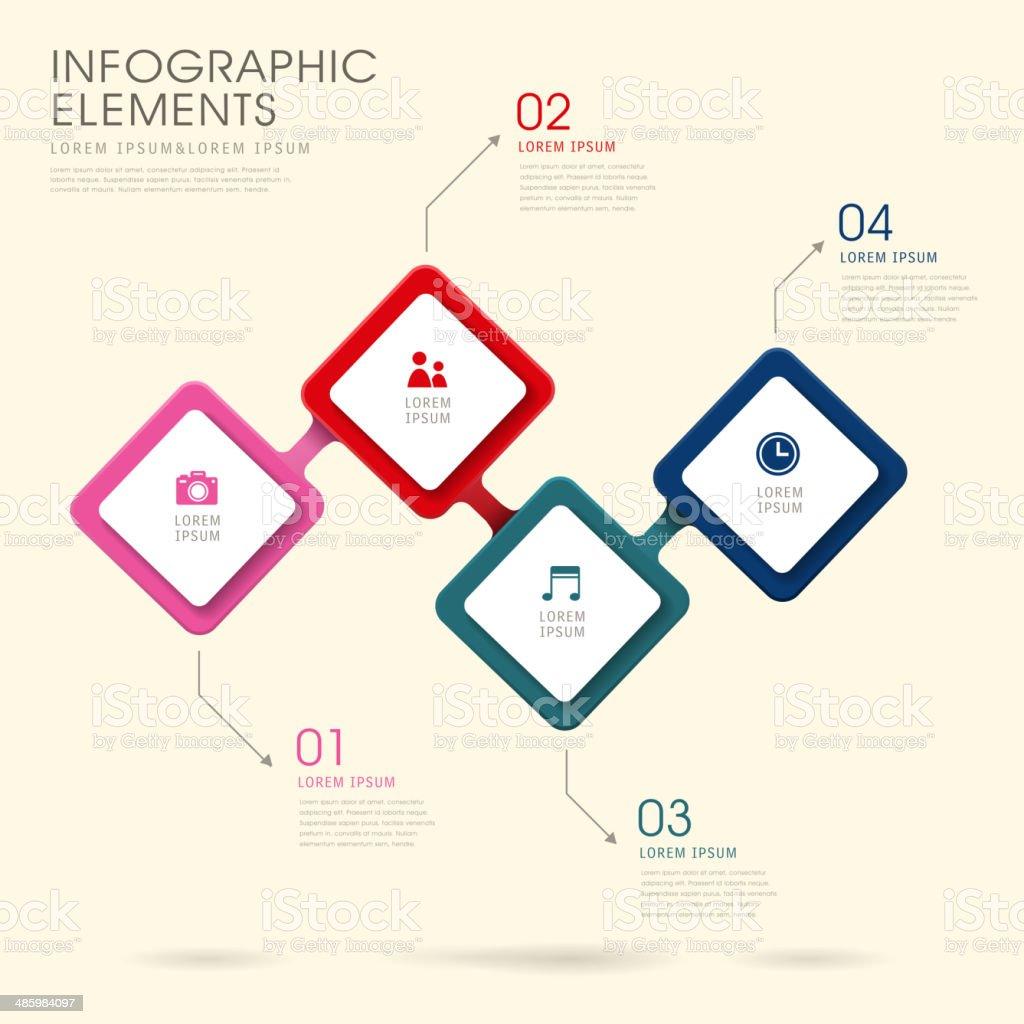 creative rhombus infographics design vector art illustration