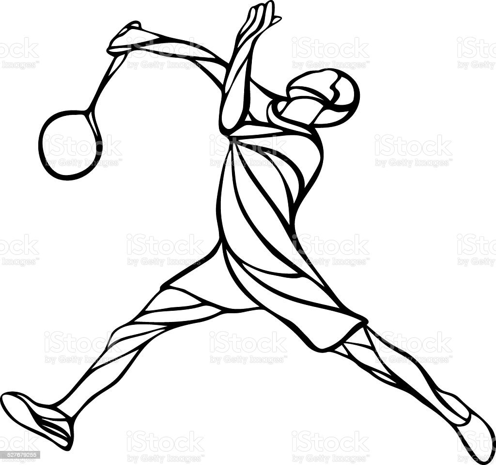 Creative silhouette of a badminton player vector art illustration