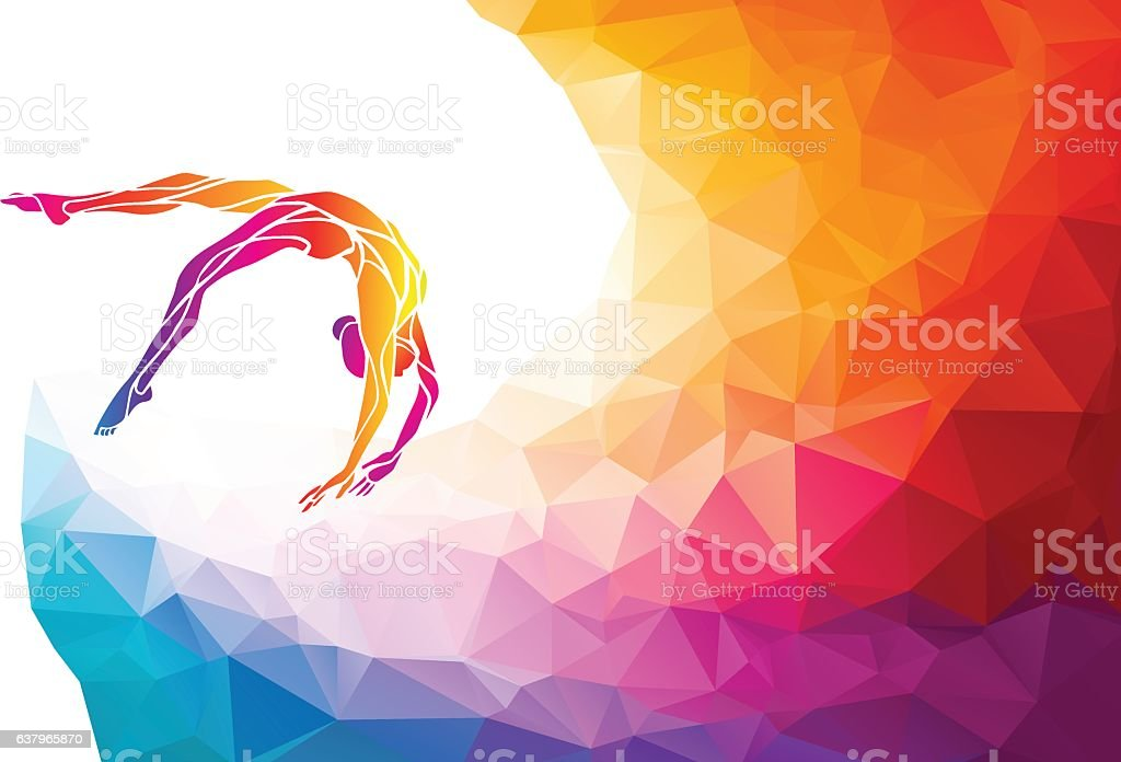 Creative silhouette of gymnastic girl. Art gymnastics vector vector art illustration