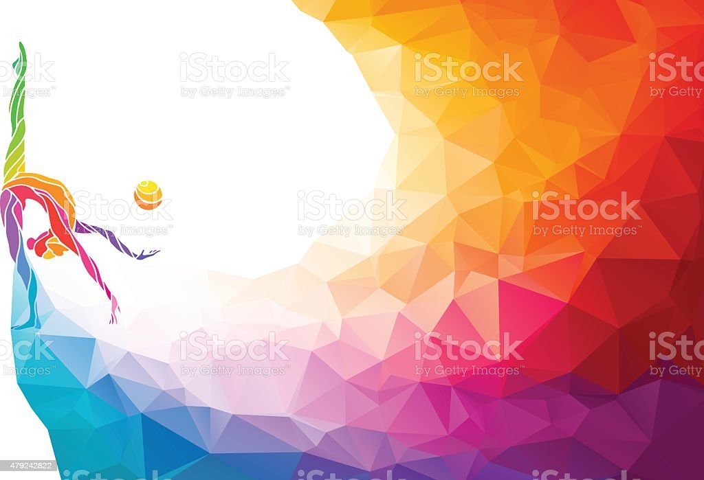 Creative silhouette of gymnastic girl. Art gymnastics with ball, vector art illustration