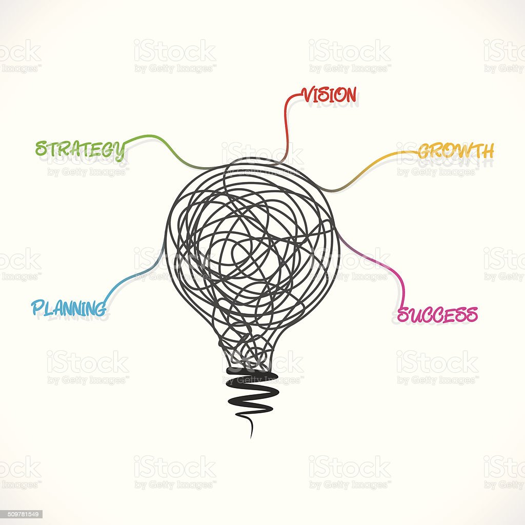 creative sketch bulb with business word vector art illustration