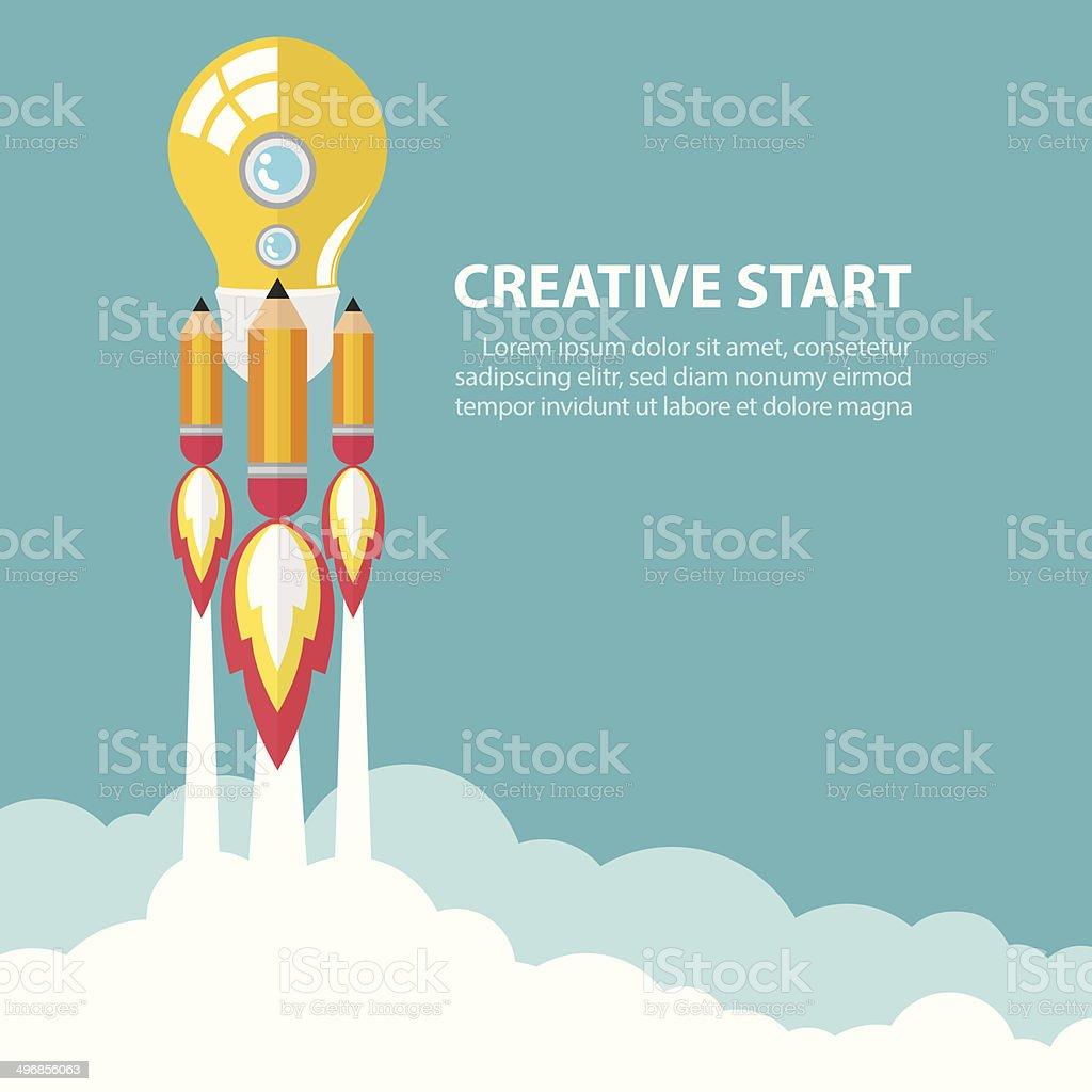 Creative start up vector art illustration