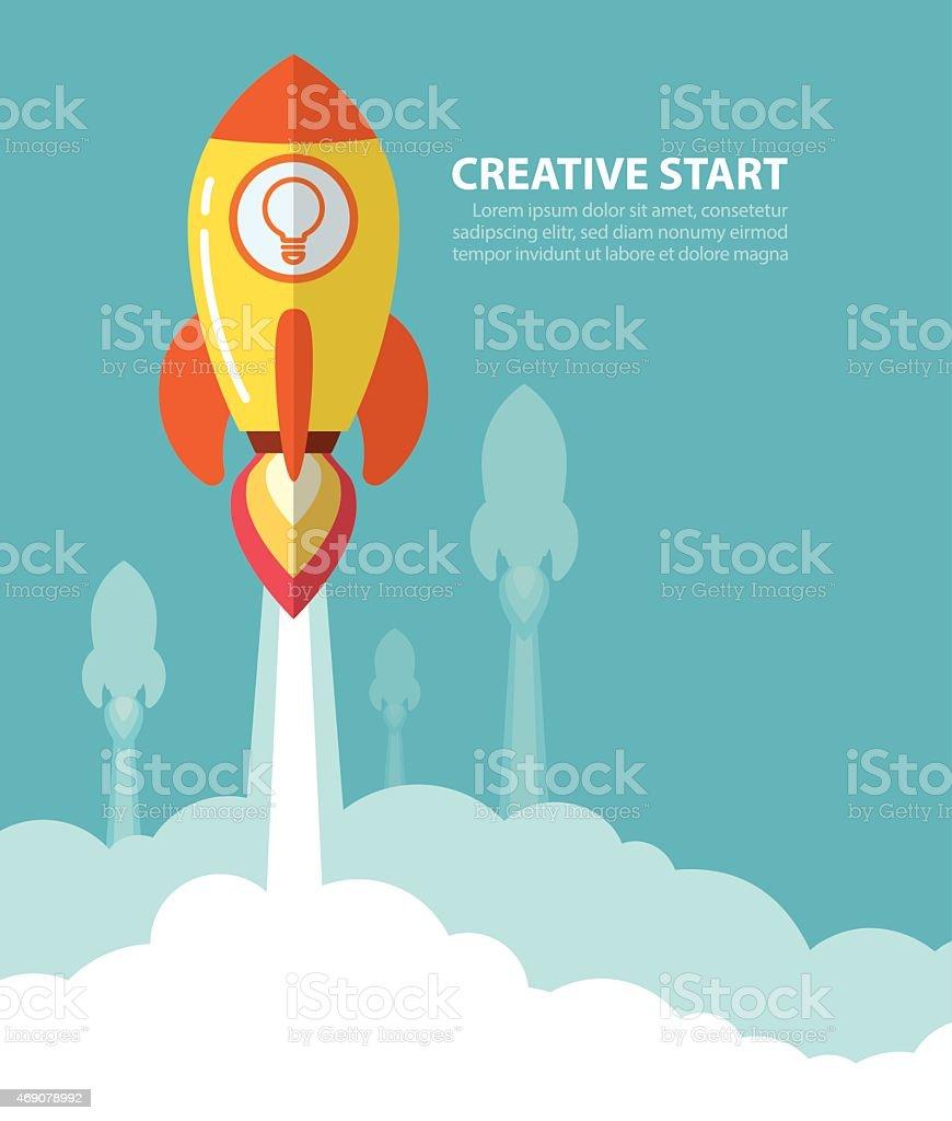 creative start vector art illustration