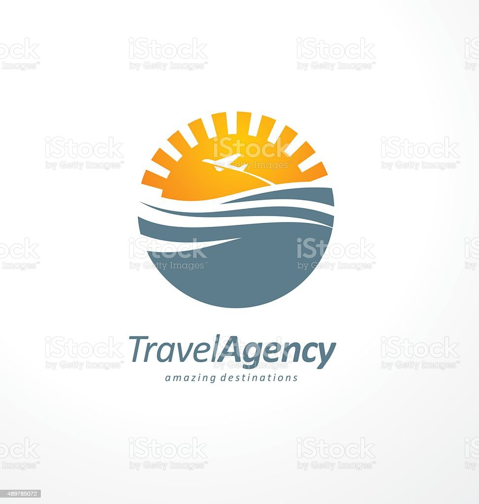 Creative symbol design concept with sun and ocean vector art illustration