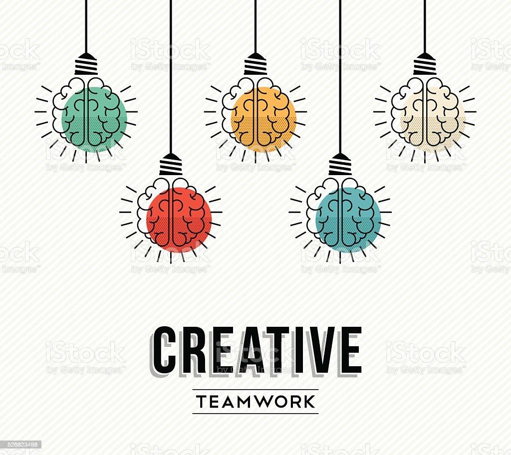 Creative teamwork concept design with human brains vector art illustration