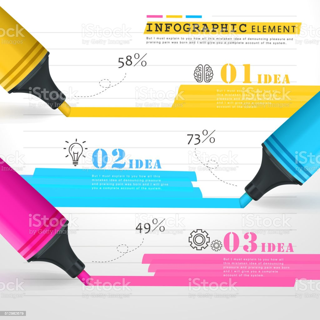 creative template infographic with colorful marks drawing lines vector art illustration