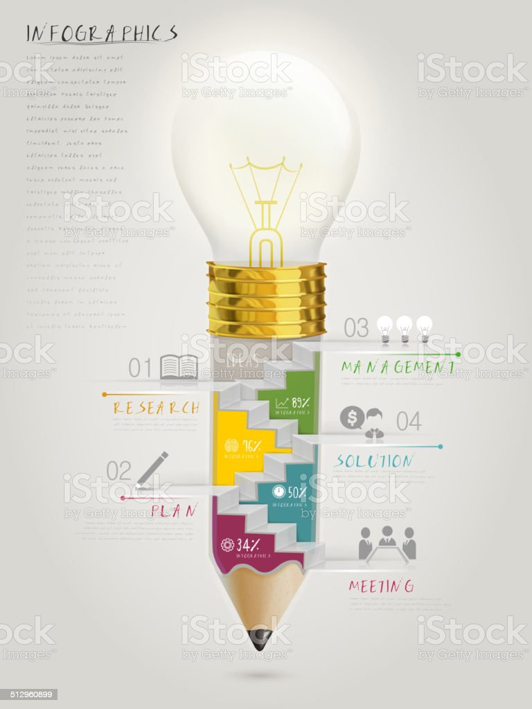 creative template infographic with stairs inside bulb pen vector art illustration