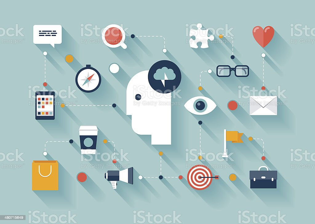 Creative thinking and brainstorming ideas vector art illustration