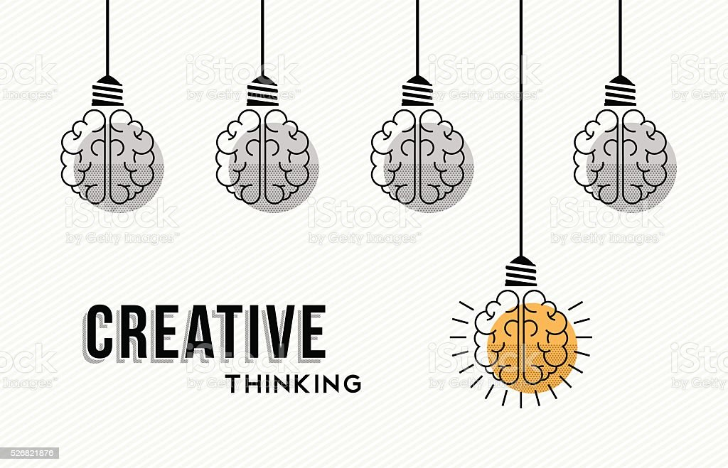 Creative thinking concept design with human brains vector art illustration