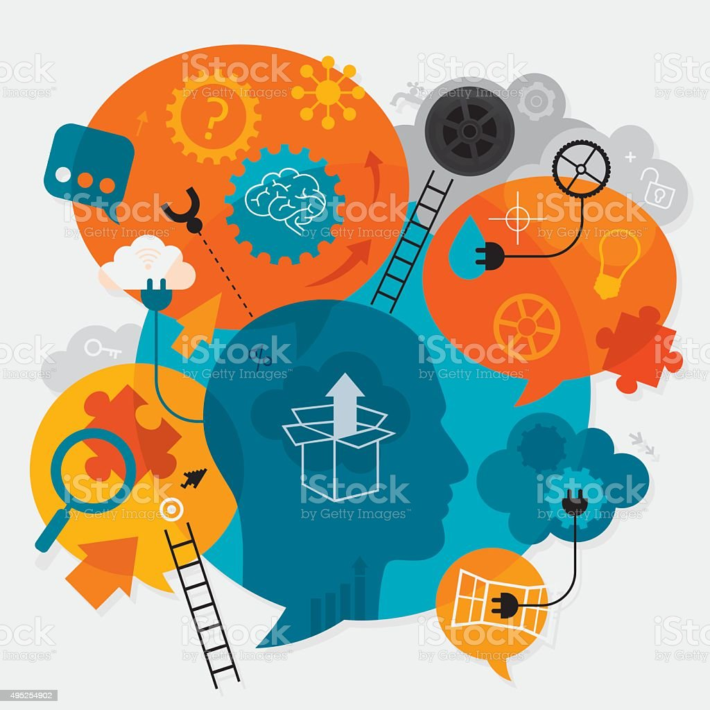Creative Thinking Concept vector art illustration