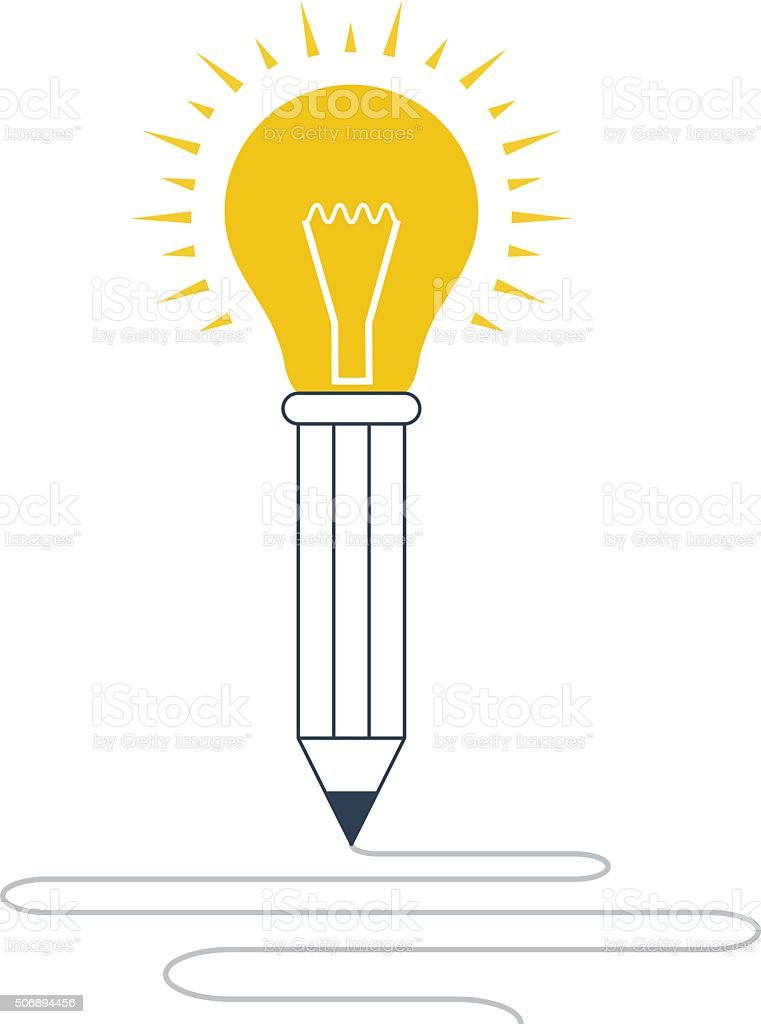 Creative thinking or writing vector art illustration