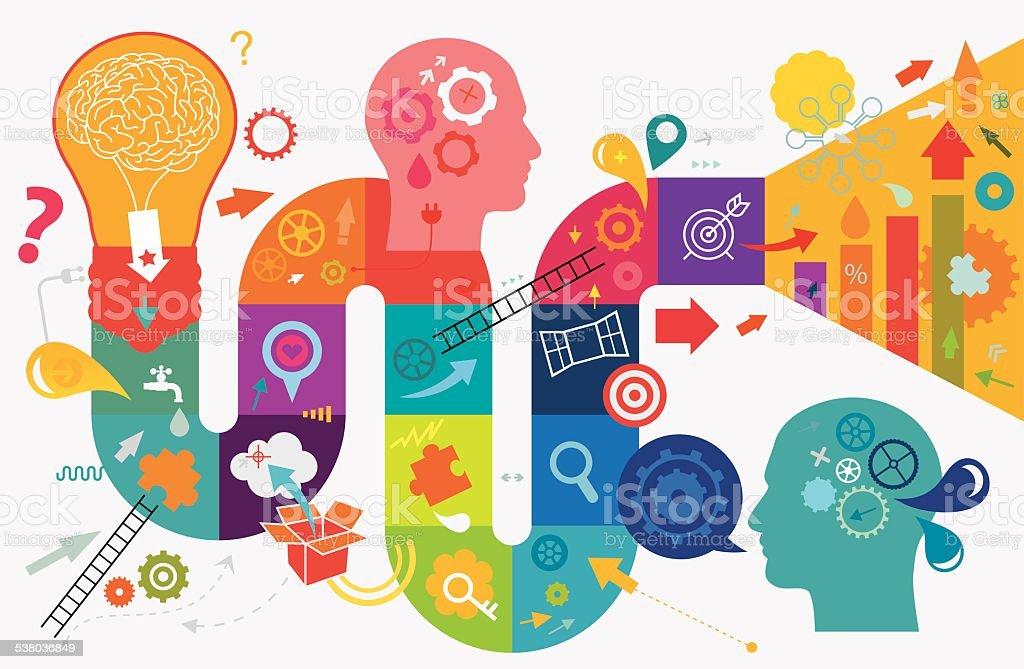 Creative Thinking vector art illustration