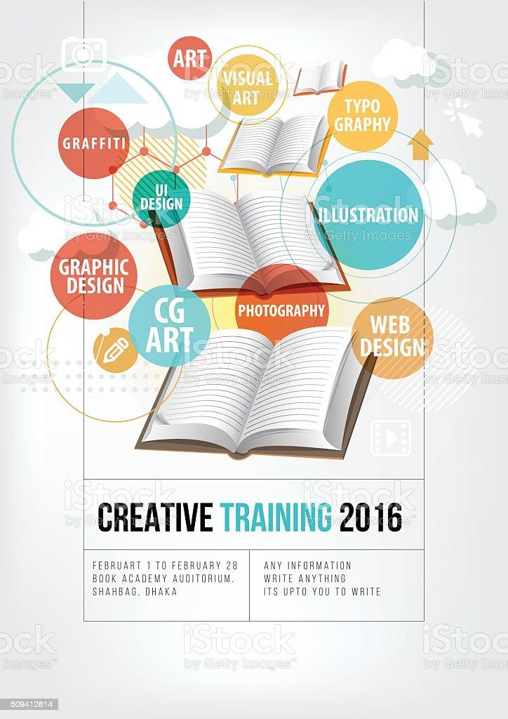 Creative Training poster vector art illustration