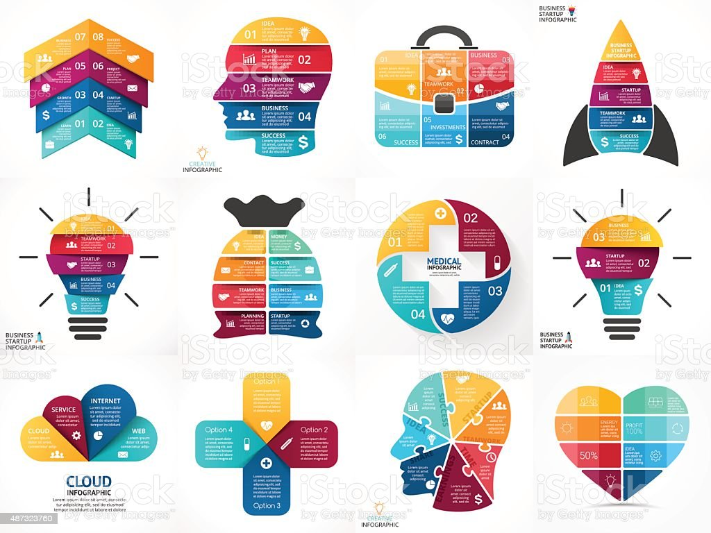 Creative vector arrows infographics, diagrams, graphs, charts. 3, 4, 5 vector art illustration