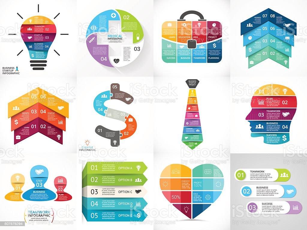 Creative vector arrows infographics set, diagrams, graphs, charts. 3, 4 vector art illustration