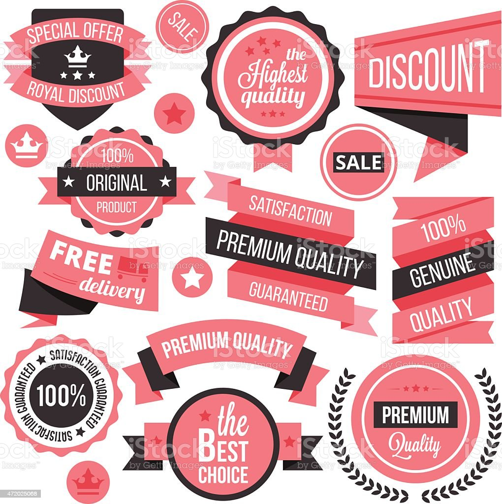 Creative vector badges, labels and ribbons set vector art illustration