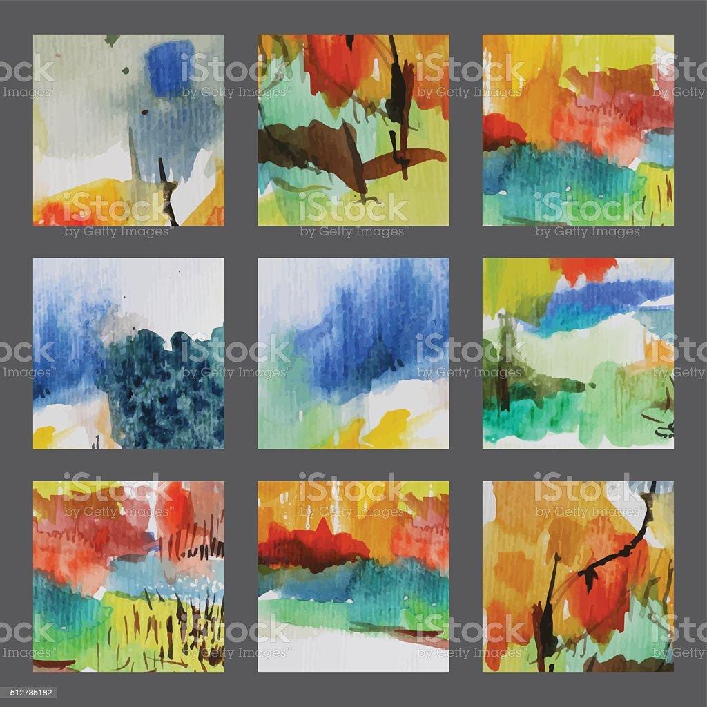 Creative Watercolor Cards vector art illustration