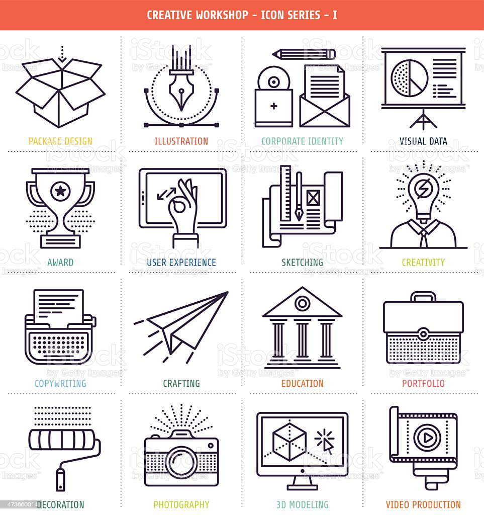 Creative workflow icons in black and white vector art illustration