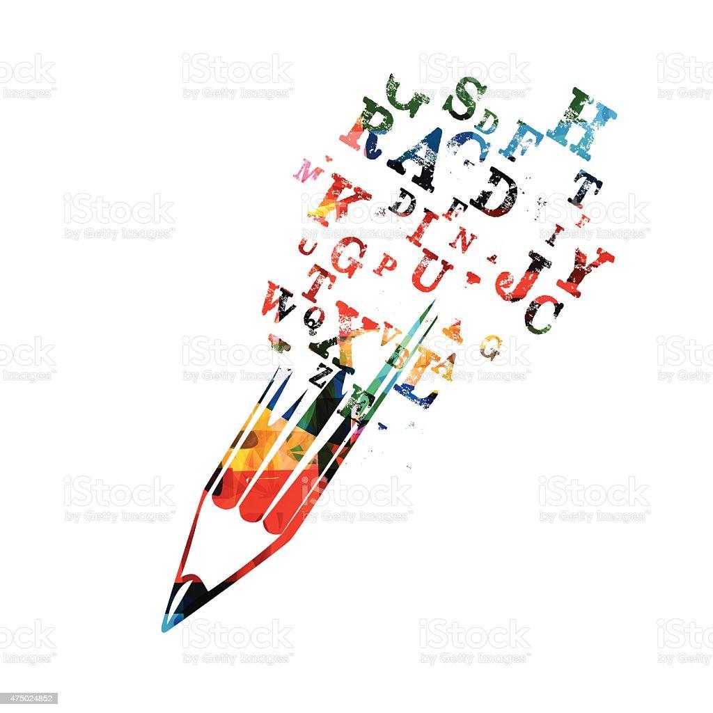 Creative writing concept vector art illustration