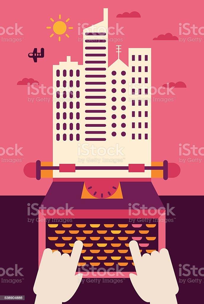 Creative Writing vector art illustration