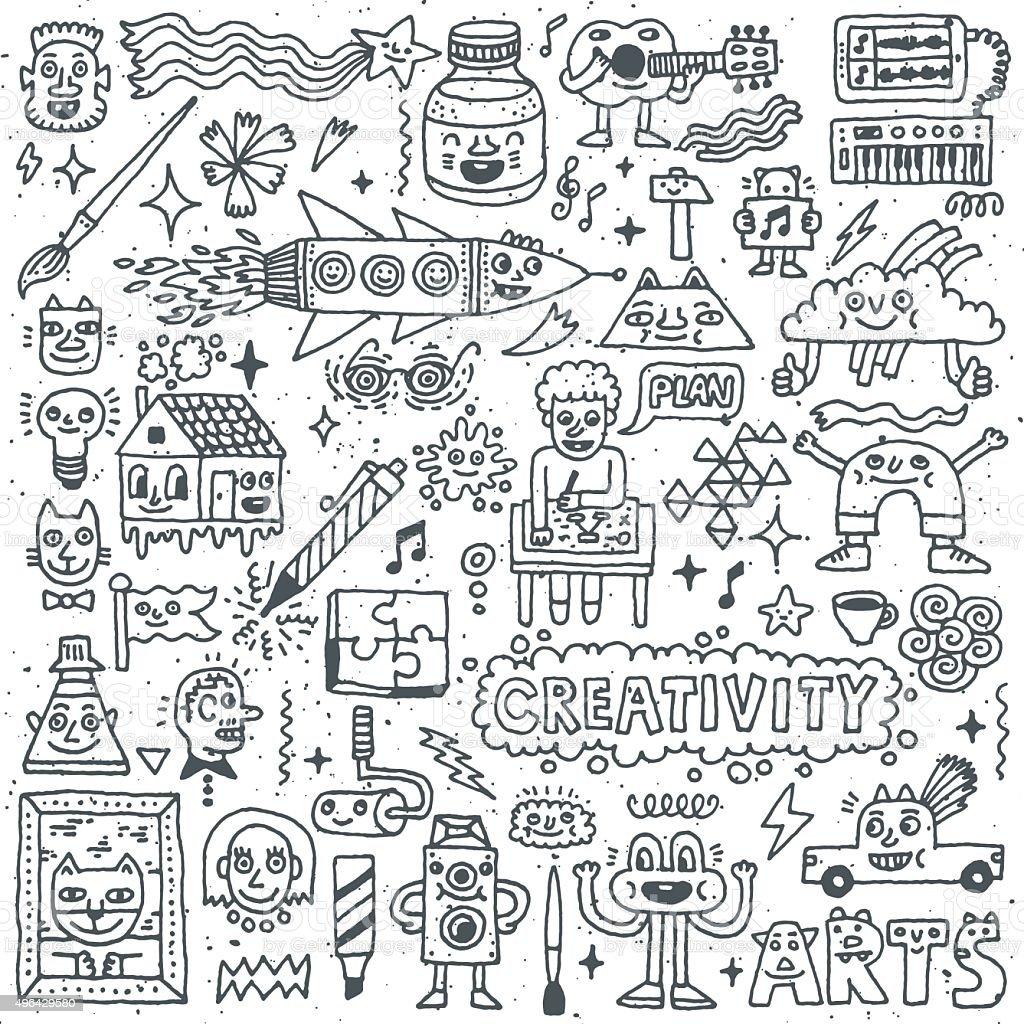 Creativity Activities Funny Doodle Cartoon Set 1. Arts and Crafts. vector art illustration