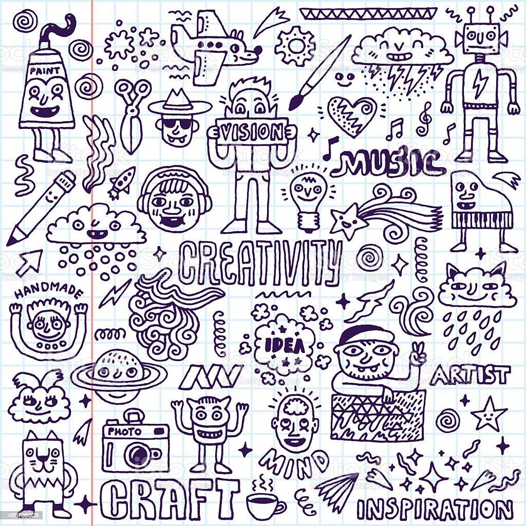 Creativity Activities Funny Doodle Cartoon Set 2. Arts and Crafts. vector art illustration