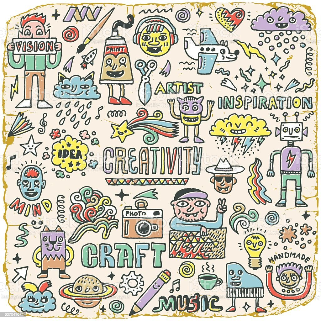Creativity Activities Funny Doodle Cartoon Set 2. Arts and Crafts....
