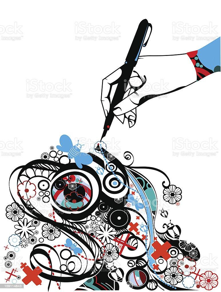 Creativity and imagination vector art illustration