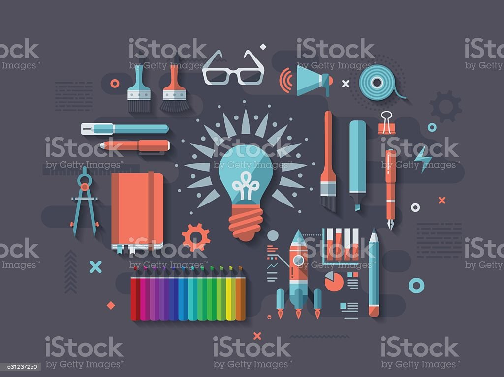 Creativity Flat Design Concept vector art illustration