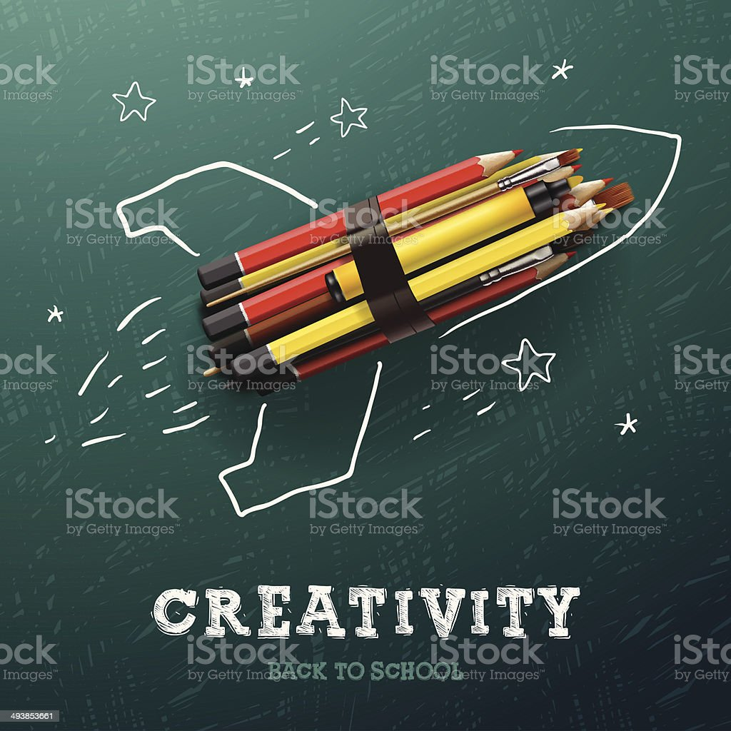 Creativity learning. Rocket ship launch with pencils vector art illustration