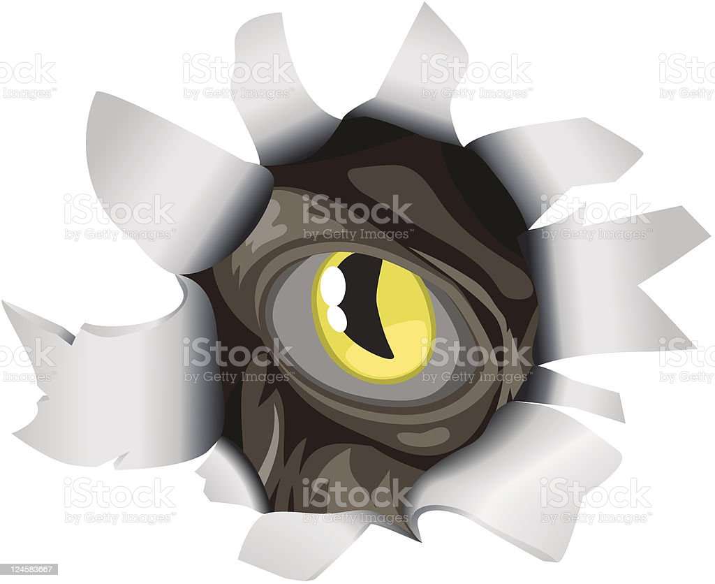 Creature looking through tear royalty-free stock vector art