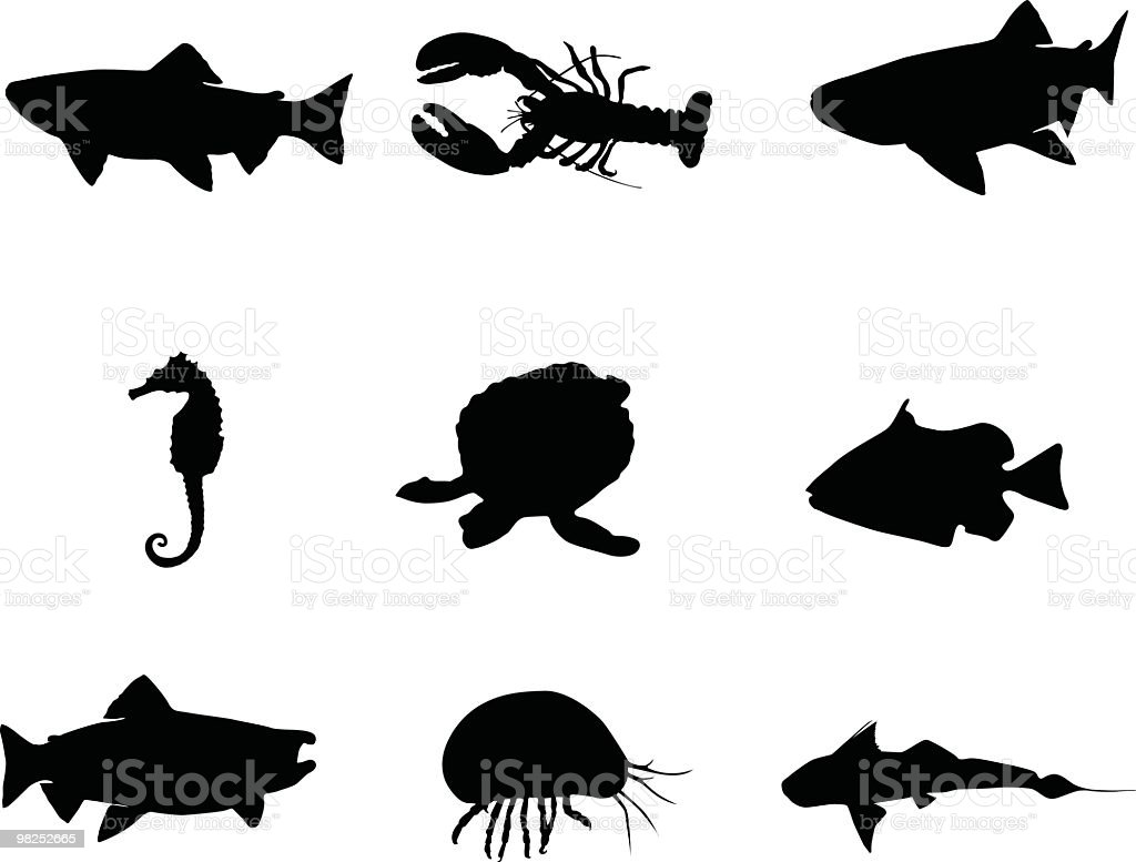 Creatures that live in the sea royalty-free stock vector art