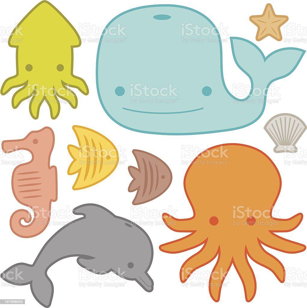 Creatures Under the Sea royalty-free stock vector art