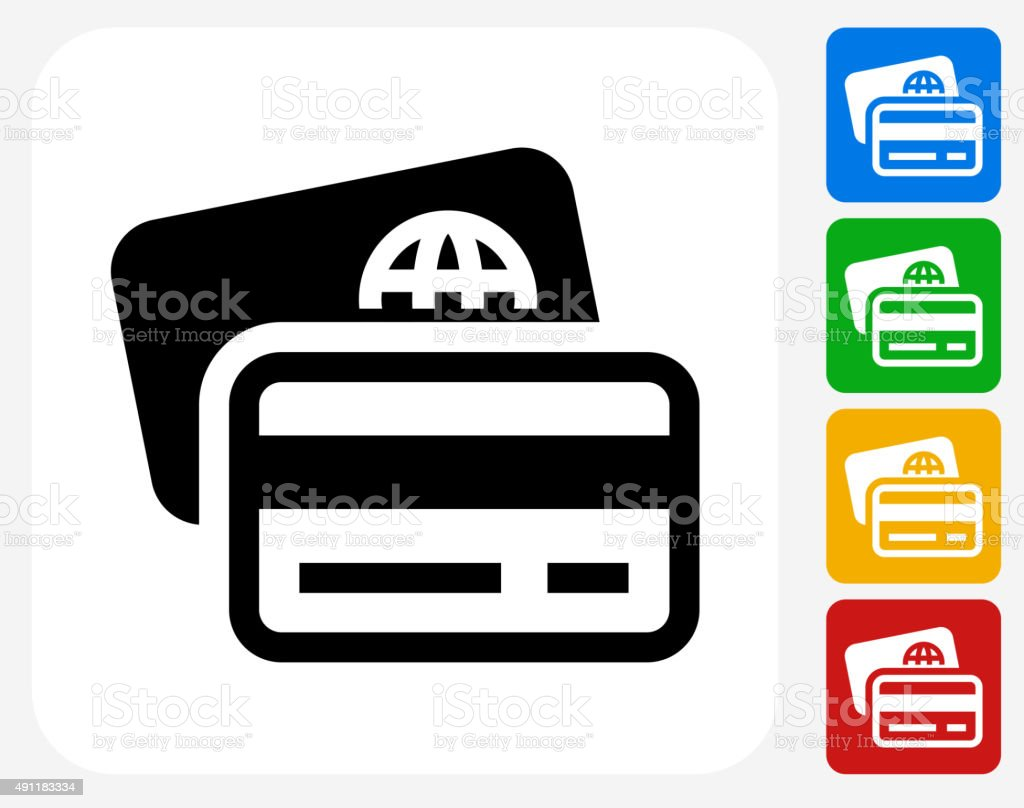 Credit and Debit Cards Icon Flat Graphic Design vector art illustration